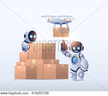 Robots Couriers Near Cardboard Boxes Air Mail Drone Fast Delivery Service Technological Shipment Art