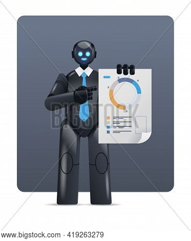 Modern Black Robot Analyzing Statistics Diagram Financial Data Analyzing Artificial Intelligence Tec