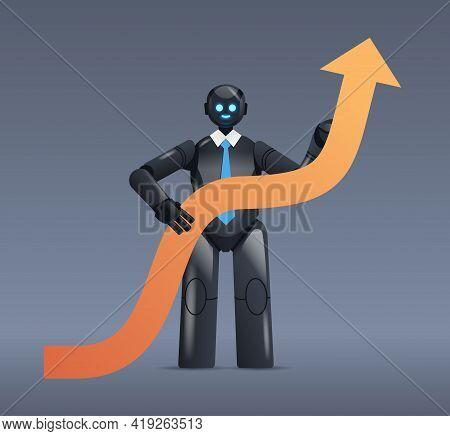 Black Robot Holding Upward Arrow Business Growth Achievement Success Artificial Intelligence Concept