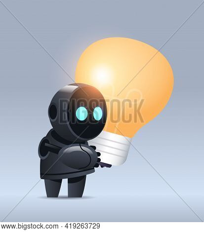 Black Robot Cyborg Holding Light Lamp Modern Robotic Character With Bright Bulb New Project Creative