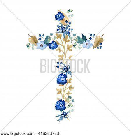 Watercolor Flower Cross, Wood Cross, Baptism, Floral Clipart, First Communion, Holy Spirit, Florals