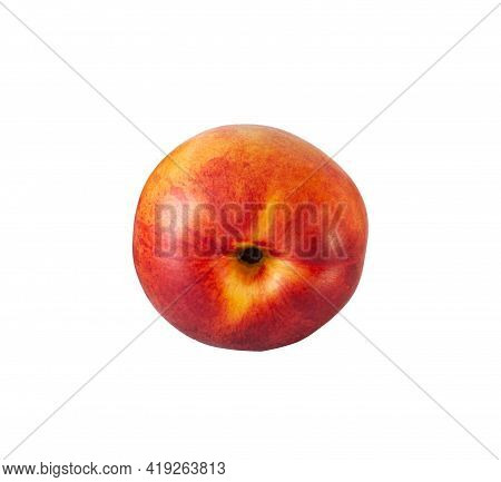 Peach Or Nectarine And Peach Slice With Leaf On White Background. Yellow Fruit Background