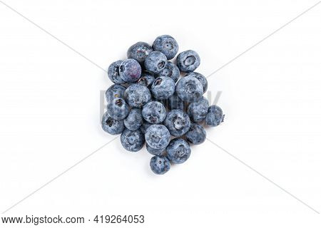 Blueberry. Fresh Blueberries Isolated On White Background. Top View. Blue Berry For Healthy Food