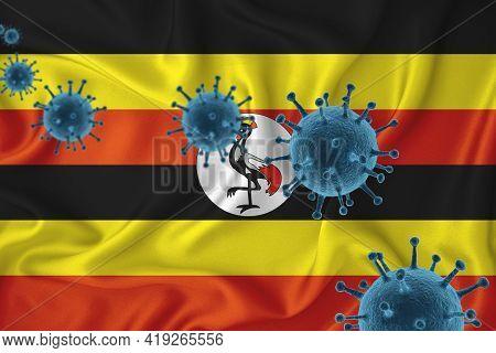 Seychelles Flag. Blue Viral Cells, Pandemic Influenza Virus Epidemic Infection, Coronavirus, Infecti