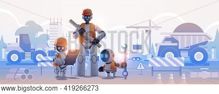 Robots Engineers In Hardhats Holding Drawings Robotic Architects With Blueprints Artificial Intellig