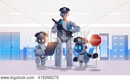 Police Robots Patrol Cops In Uniform Standing Together Artificial Intelligence Technology Concept