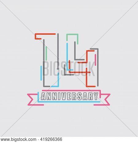 14th Years Anniversary Logo Birthday Celebration Abstract Design Vector Illustration. Eps 10
