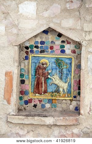 Saint Francis instructs the wolf. Assisi, Umbria