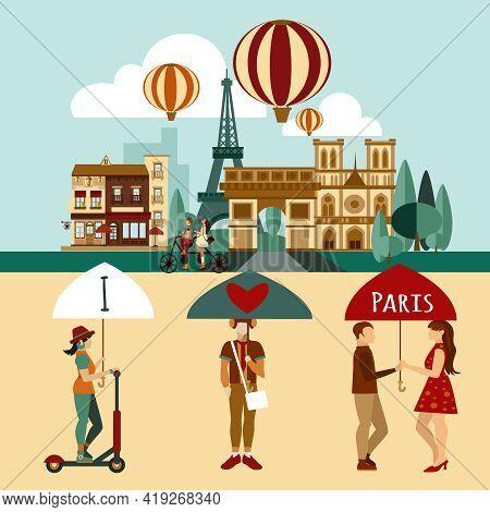 Paris Touristic Set With Famous Landmarks And Tourist People Vector Illustration