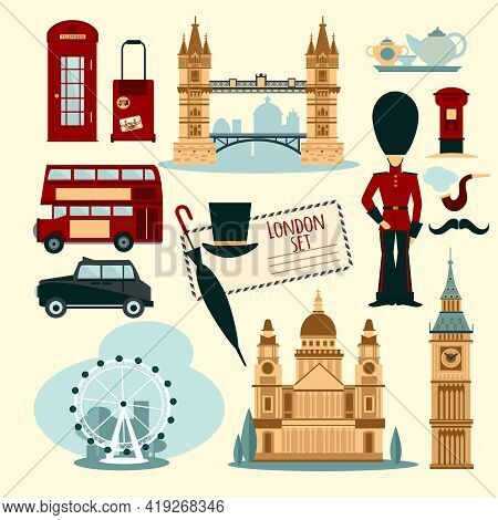 London Touristic Set With Flat Telephone Booth Tower Bridge And Cab Isolated Vector Illustration
