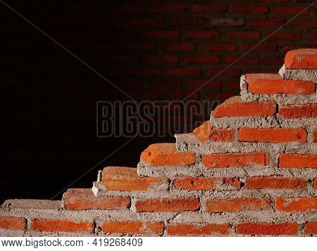 The Red Brick Wall, Which Was Only Half Built, Was Not Finished Yet.