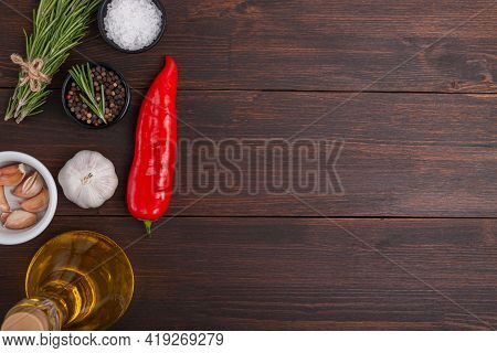 Food Backgrond For Recipe. Spices And Herbs On Wooden Table. Top View