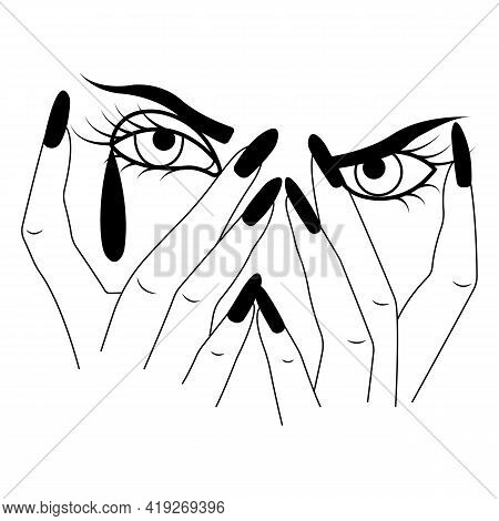 Silhouette Of A Girl's Face Covered With Palms With A Tear. Minimalism Style. A Symbol Of Beauty And