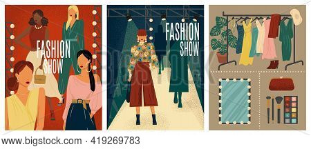 Fashion Show Concept Vector Illustration. Hand Drawn Set Of Fashion Week Posters With Models On A Ca