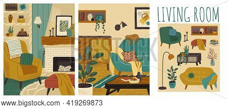 Living Room Interior Hand Drawn Vector Illustration Set. Home Modern Interior Design. Cozy Room Furn