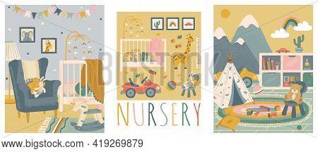 Nursery Room Interior Hand Drawn Vector Illustration Set. Home Modern Interior Design. Newborn Child