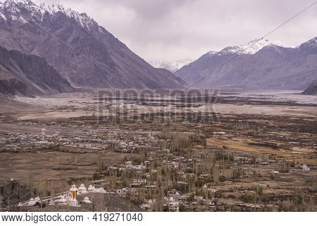 Beautiful Landscape Of Nubra Valley In Ladakh, Captured With A Drone, Aerial View.