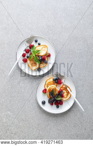 Pancakes With Fresh Blueberry And Raspberry, Breakfast