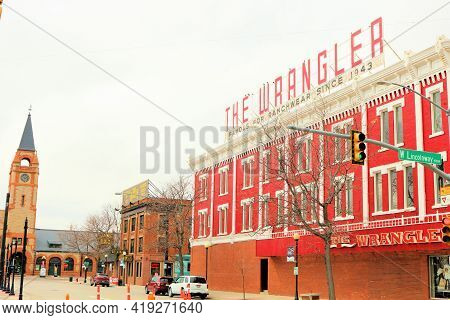 April 26, 2021 In Cheyenne, Wy:  Vintage Building With The Wrangler Western Wear Retail Store And Th