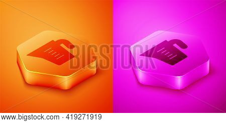 Isometric Measuring Cup To Measure Dry And Liquid Food Icon Isolated On Orange And Pink Background.