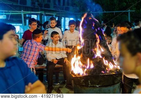 Haifa, Israel - April 29, 2021: Ultra-orthodox Jews Celebrate The Lag Baomer Holiday, With The Kids