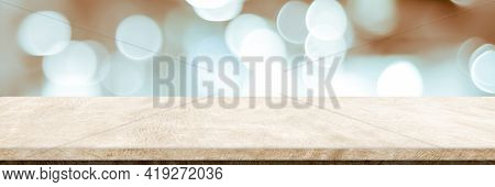 Empty Brown Cement Table Over Blur Store Background, Product Display Montage, Black And White Tone,
