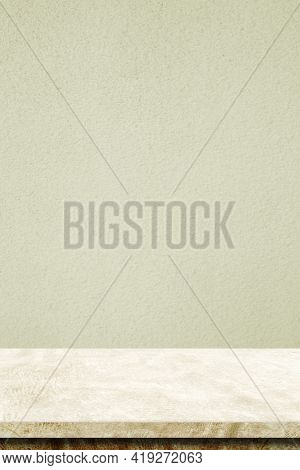 Empty Vertical Brown Cement Table Over Cement Wall Background, Banner, Table Top, Shelf, Counter Des
