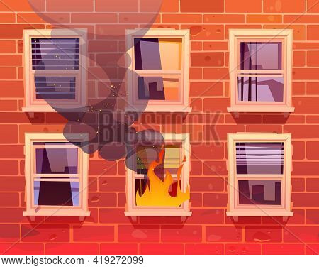 Fire In House, Window With Burning Flame, Long Blazing And Black Steam At Real Estate Building Facad