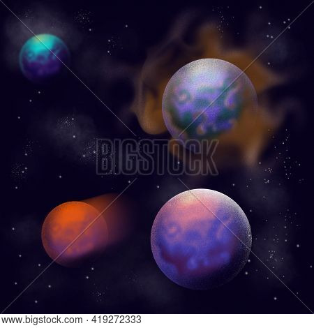 Abstract Galaxy With Different Planets, Starlight And Nebula On A Dark Blue Sky Digital Illustration