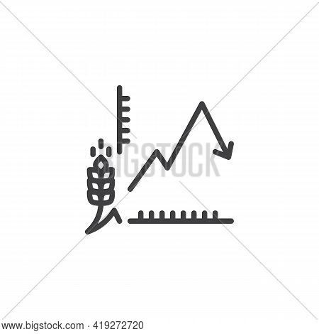 Harvest, Crop Chart Line Icon. Linear Style Sign For Mobile Concept And Web Design. Agricultural Dia