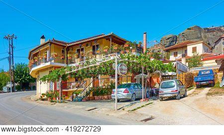 Kastraki, Kalambaka, Greece - September 18,  2019: Cozy guesthouse by the road in Kastraki village in Meteora