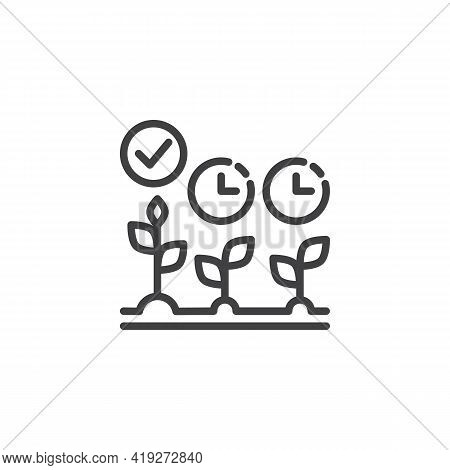 Cultivation Time Line Icon. Linear Style Sign For Mobile Concept And Web Design. Crop Growing Time O