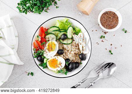 Greek Inspired Savory Oatmeal With Fresh Cucumber, Bell Pepper, Olives, Lettuce, Feta Cheese, Radish