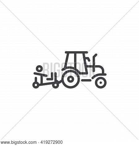 Farm Tractor Line Icon. Linear Style Sign For Mobile Concept And Web Design. Harvester Tractor Outli