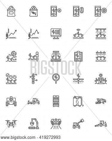 Smart Agriculture Line Icons Set. Linear Style Symbols Collection, Outline Signs Pack. Smart Farming