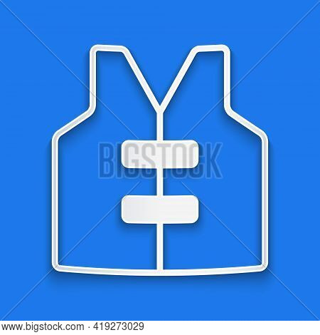 Paper Cut Life Jacket Icon Isolated On Blue Background. Life Vest Icon. Extreme Sport. Sport Equipme