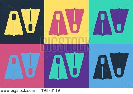 Pop Art Rubber Flippers For Swimming Icon Isolated On Color Background. Diving Equipment. Extreme Sp
