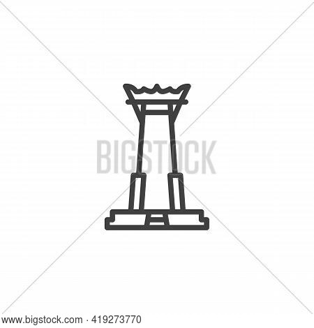 Thai Temple Line Icon. Linear Style Sign For Mobile Concept And Web Design. Buddhist Temple Outline