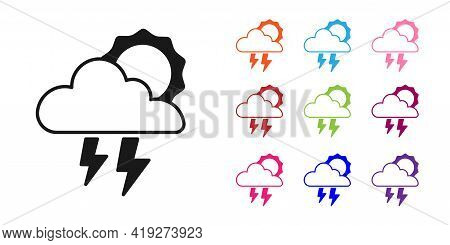 Black Storm Icon Isolated On White Background. Cloud With Lightning And Sun Sign. Weather Icon Of St