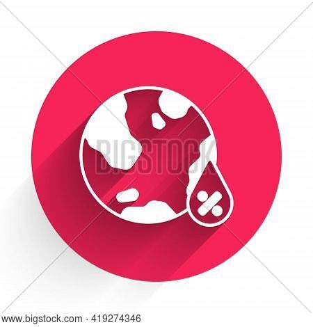 White Water Drop Percentage Icon Isolated With Long Shadow. Humidity Analysis. Red Circle Button. Ve