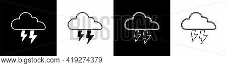 Set Storm Icon Isolated On Black And White Background. Cloud And Lightning Sign. Weather Icon Of Sto