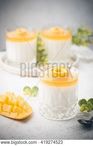 Italian Dessert Panna Cotta With Mango In Glass On White Background