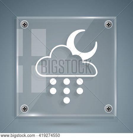 White Cloud With Rain And Moon Icon Isolated On Grey Background. Rain Cloud Precipitation With Rain