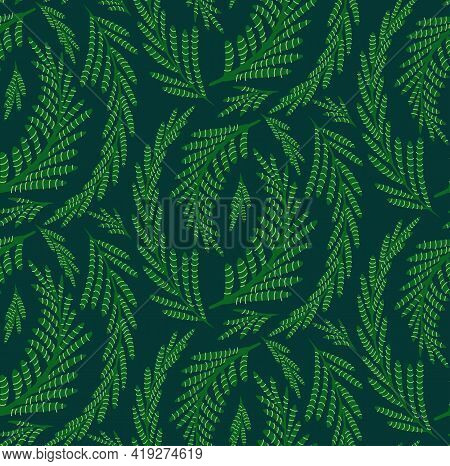 Fennel Herbaceous Seamless Pattern On Dark Green Background. Fabric With Grass Fields. Wallpaper Wit