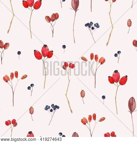 Watercolor seamless pattern with rose hips, rowan and other berries. Vintage seamless pattern. Pink background.