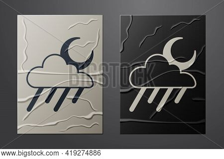 White Cloud With Rain And Moon Icon Isolated On Crumpled Paper Background. Rain Cloud Precipitation