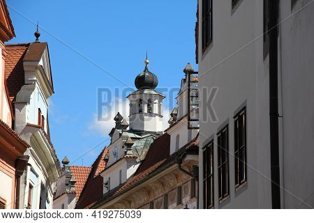 Cesky Krumlov, Czech - April 25, 2012: There Are The Gables Of Building Along One Of The Old Street