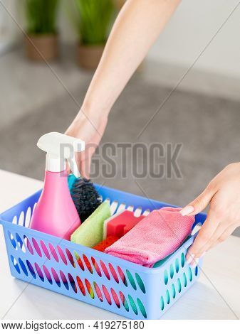House Chores. Cleaning Day. Housewife Work. Unrecognizable Woman Putting Basket With Cleaner Spray S