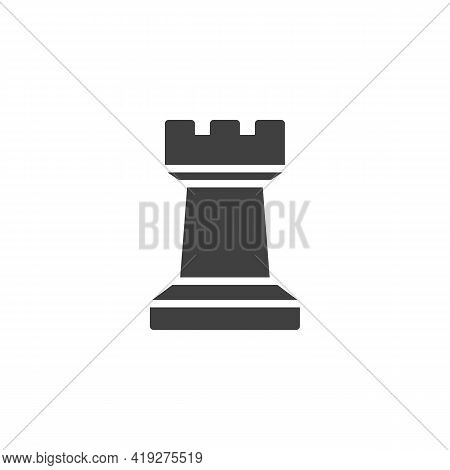 Chess Rook Piece Vector Icon. Filled Flat Sign For Mobile Concept And Web Design. Rook Figure Glyph