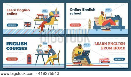 Online English School Or Courses Website Pages Bundle, Flat Vector Illustration. English Language Di